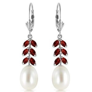 14K. GOLD LEVER BACK EARRING WITH GARNETS & PEARLS